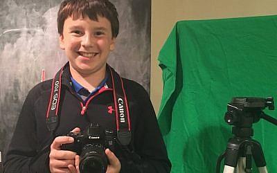 Ryan Levine shooting a film (JTA/Lisa Bercu Levine)