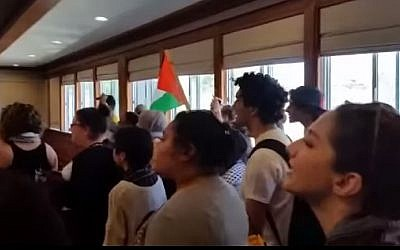 Screenshot from a pro-Palestinian protest against Jerusalem Mayor Nir Barkat at San Francisco State University in April.