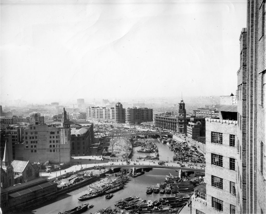 A view of Shanghai, with Sir Victor Sassoon's Embankment Building (center), which would be used as a welcoming center for Jewish refugees. (Courtesy)