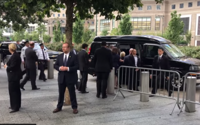 Democratic nominee Hillary Clinton is helped to her van as she leaves Ground Zero on September 11, 2016 (screen capture: YouTube)