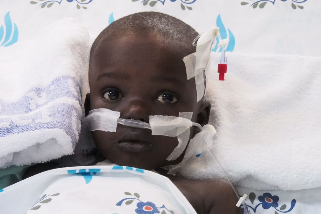 Sanusay Demba in Wolfson Hospital in Tel Aviv, recovering from surgery. (Courtesy)