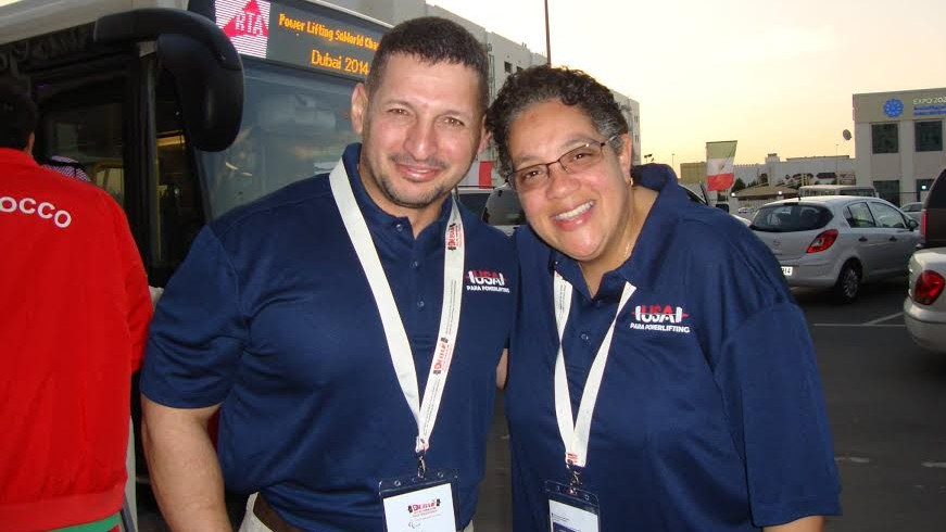 US Paralympic powerlifter Ahmed Shafik with coach Mary Hodge. (Courtesy Mary Hodge)