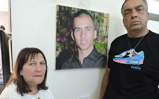 Zehava Shaul, shown with her late husband Herzl, has been seeking answers about the fate of her son since he was captured by Hamas on July 20, 2014 in Gaza City. (JTA/Ben Sales)