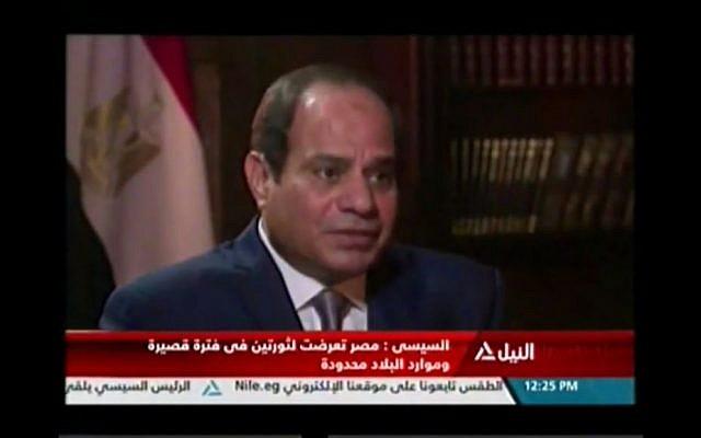 Egypt's President Abdel Fattah el-Sissi interviewed on PBS in September 2016 (Screen capture: YouTube)