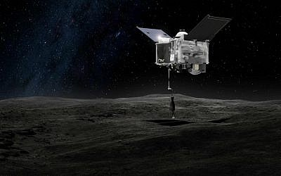 This artist's rendering made available by NASA on Tuesday, Sept. 6, 2016 shows the Origins Spectral Interpretation Resource Identification Security - Regolith Explorer (OSIRIS-REx) spacecraft contacting the asteroid Bennu with the Touch-And-Go Sample Arm Mechanism. (NASA/Goddard Space Flight Center via AP)