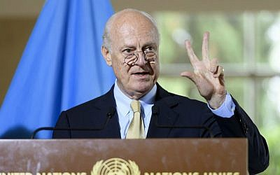 Staffan de Mistura, UN Special Envoy for Syria, speaks about the International Syria Support Group's Humanitarian Access Task Force at the European headquarters of the United Nations, in Geneva, Switzerland, Thursday, Sept. 15, 2016. (Martial Trezzini/Keystone via AP)