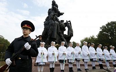 Kiev Cadets honor guard takes part in commemorative events at the Soviet monument to the victims of the  Babi Yar ravine in Kiev, Ukraine, September 29, 2016. (AP/Sergei Chuzavkov)