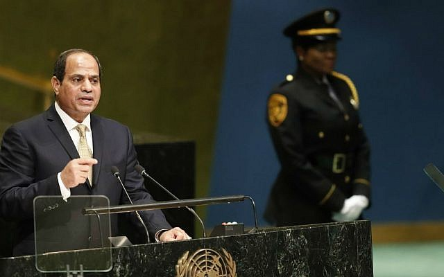 Egyptian President Abdel-Fattah el-Sissi speaks during the 71st session of the United Nations General Assembly at UN headquarters, Tuesday, Sept. 20, 2016. (AP Photo/Mary Altaffer)