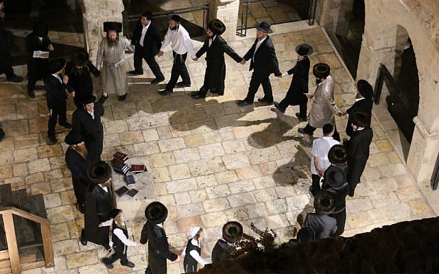 Hasidic worshipers dance at the site of David's Tomb on Mount Zion on Saturday nights. (Shmuel Bar-Am)