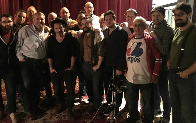 Cantor Gideon Zelermyer and Adam Cohen (first row, second and third from left) in Montreal recording studio with Shaar Hashomayim choir, working on new Leonard Cohen album, 'You Want It Darker.' (Courtesy)