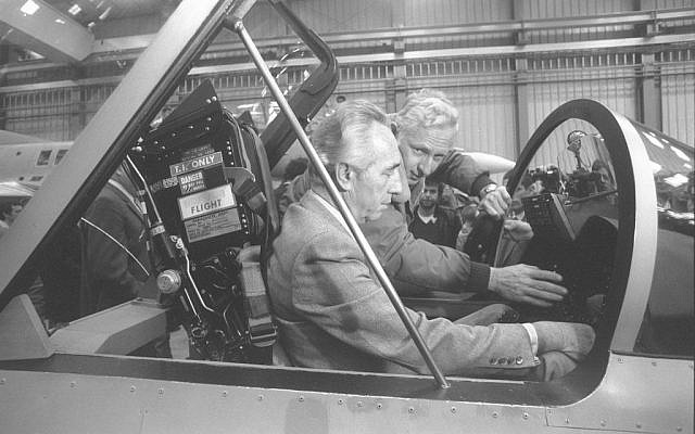 Prime minister Peres visiting Israel Aerospace Industries's Lavi project (Defense Ministry Archives)