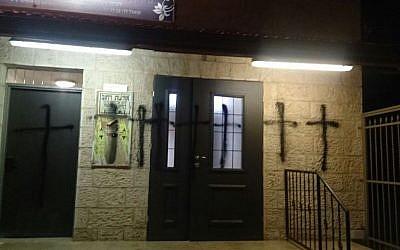 Crosses spray painted on synagogue in Yossi ben Yoezer street, Jerusalem (Police spokesperson).
