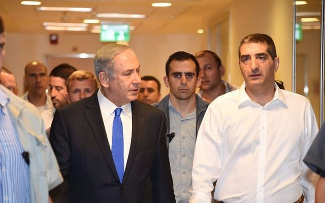 Prime Minister Benjamin Netanyahu at Sheba Medical Center outside Tel Aviv where he visited Shimon Peres on September 14, 2016, a day after the elder statesman was hospitalized with a major stroke. (Courtesy)