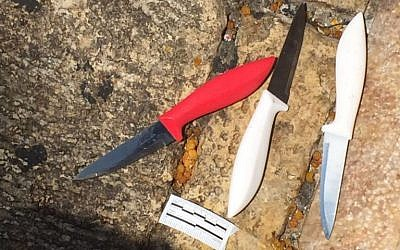 Three knives found by police officers that were in the possession of a Jordanian man who allegedly attempted to stab a group of border guards at the Damascus Gate outside the Old City of Jerusalem on September 16, 2016. (Israel Police)