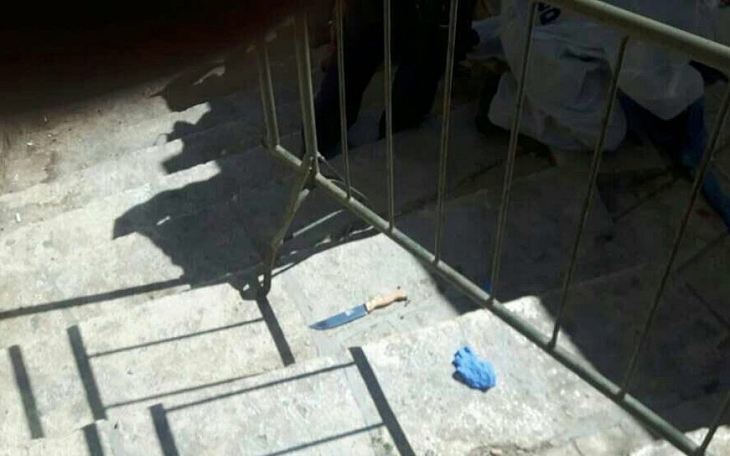 One of the knives allegedly used in an attempted stabbing attack near Hebron's Tomb of the Patriarchs holy site on September 19, 2016. (Israel Police)