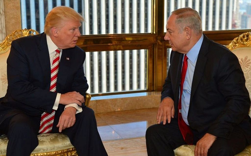 Prime Minister Benjamin Netanyahu and then-Republican presidential candidate Donald Trump meeting at Trump Tower in New York, September 25, 2016. (Kobi Gideon/GPO)