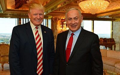 Prime Minister Benjamin Netanyahu and US President Donald Trump meeting at Trump Tower in New York, September 25, 2016. (Kobi Gideon/GPO)