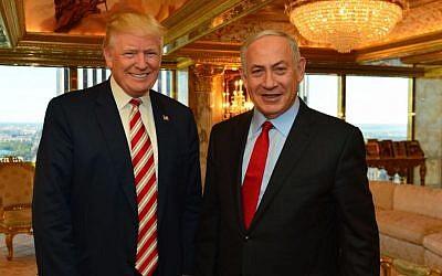 Prime Minister Benjamin Netanyahu and US President Donald Trump meeting at Trump Tower in New York, September 25, 2016. (Kobi Gideon/GPO)