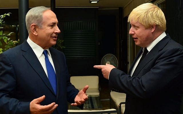 Prime Minister Benjamin Netanyahu meets with Foreign Minister Boris Johnson on September 30, 2016. (GPO)