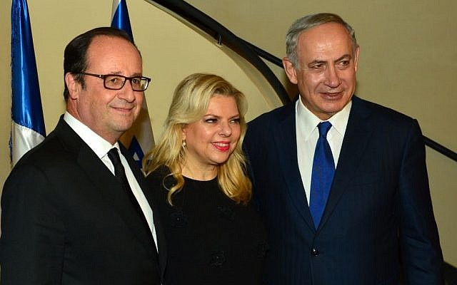 Prime Minister Benjamin Netanyahu and his wife Sara with French President Francois Hollande at the Prime Minister's Residence in Jerusalem on September 30, 2016. (GPO)