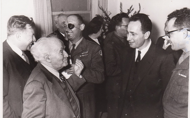 Shimon Peres with then-premier David Ben Gurion and Moshe Dayan in the 1960s. (Defense Ministry Archives)