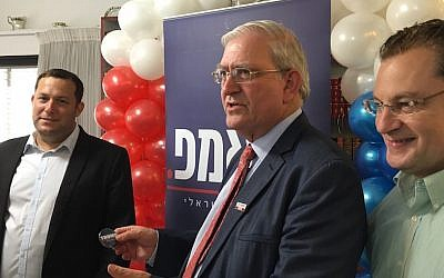From left, Yossi Dagan, Mark Zell and Abe Katzman celebrating the opening of the Republicans Overseas Israel office in the West Bank town of Karnei Shomron, Sept. 5, 2016. (Andrew Tobin)