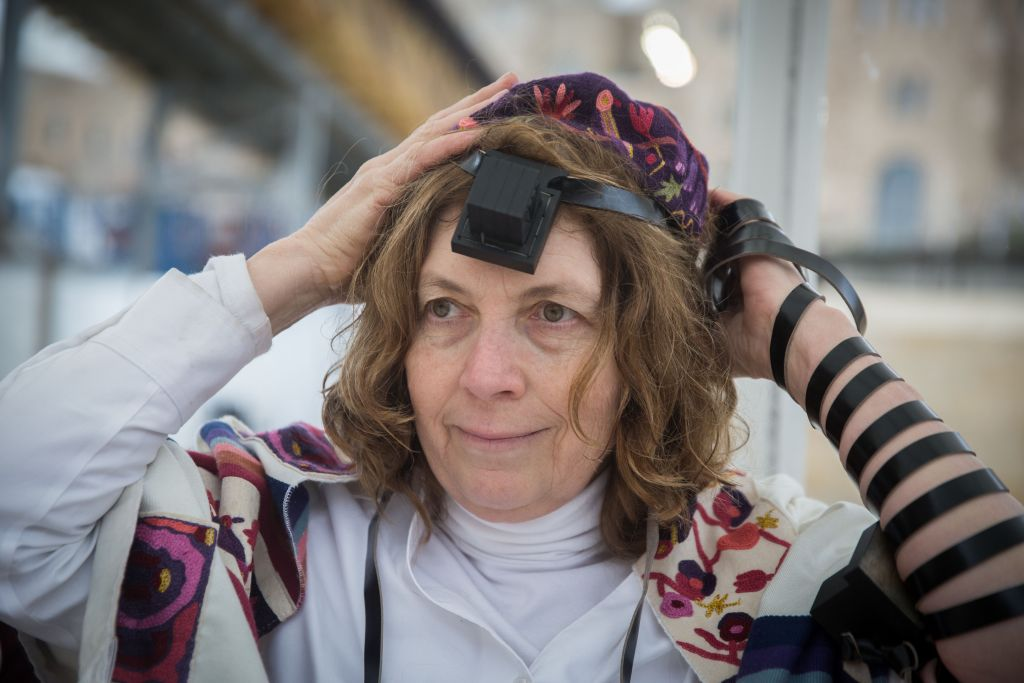 Women of the Wall leader Anat Hoffman at the Western Wall, February 7, 2016. (Hadas Parush/Flash90/JTA)