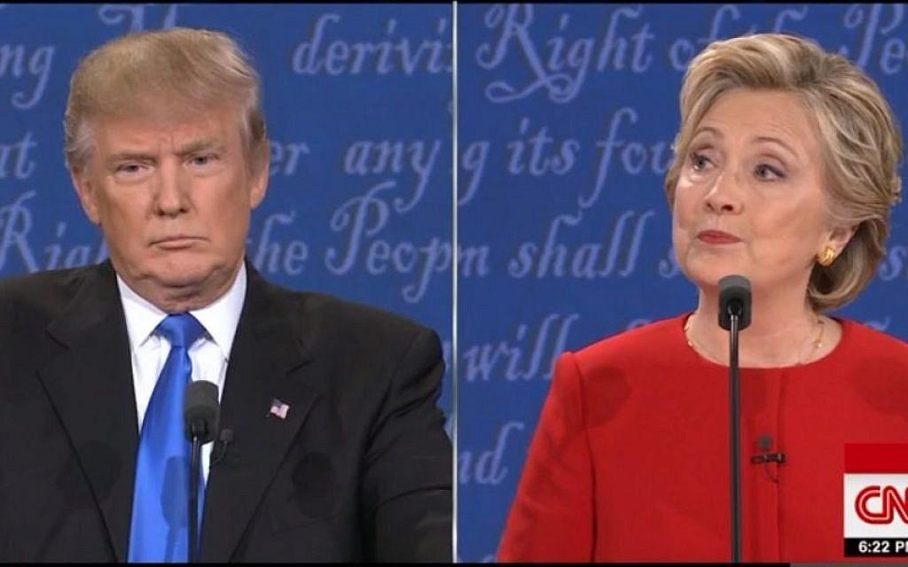 Donald Trump and Hillary Clinton during their presidential debate on September 26, 2016 (CNN screenshot)