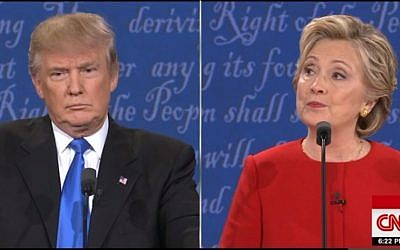 Donald Trump and Hillary Clinton during their presidential debate on September 26, 2016 (CNN screenshot)