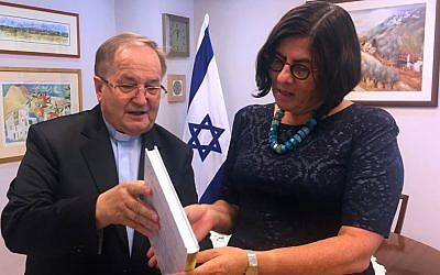 Israeli Ambassador to Poland Anna Azari, right, meets with Tadeusz Rydzyk at the embassy in Warsaw on September 7, 2016 (Facebook, Israeli Embassy in Poland)
