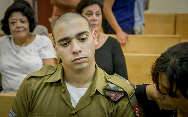 IDF soldier Elor Azaria at a military court hearing in Jaffa, August 30, 2016. (Miriam Alster/Flash90/JTA)