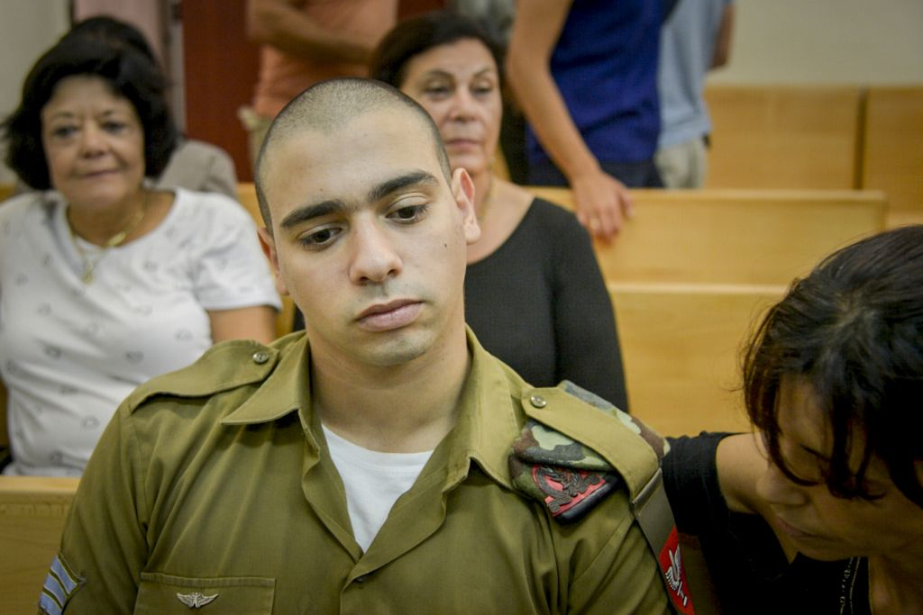 Israeli soldier Elior Azaria at a military court hearing in Jaffa, August 30, 2016. (Miriam Alster/Flash90/JTA)