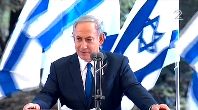 Prime Minister Benjamin Netanyahu delivers a eulogy at Shimon Peres's funeral at Mount Herzl cemetery in Jerusalem on September 30, 2016. (screen capture: Channel 2)