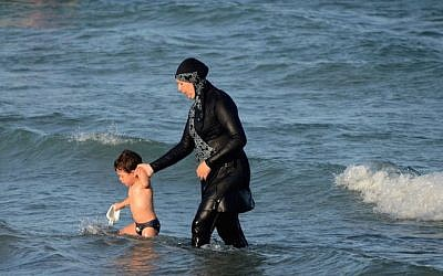 "A Tunisian woman wearing a ""burkini,"" August 16, 2016.  (FETHI BELAID/AFP/Getty Images)"