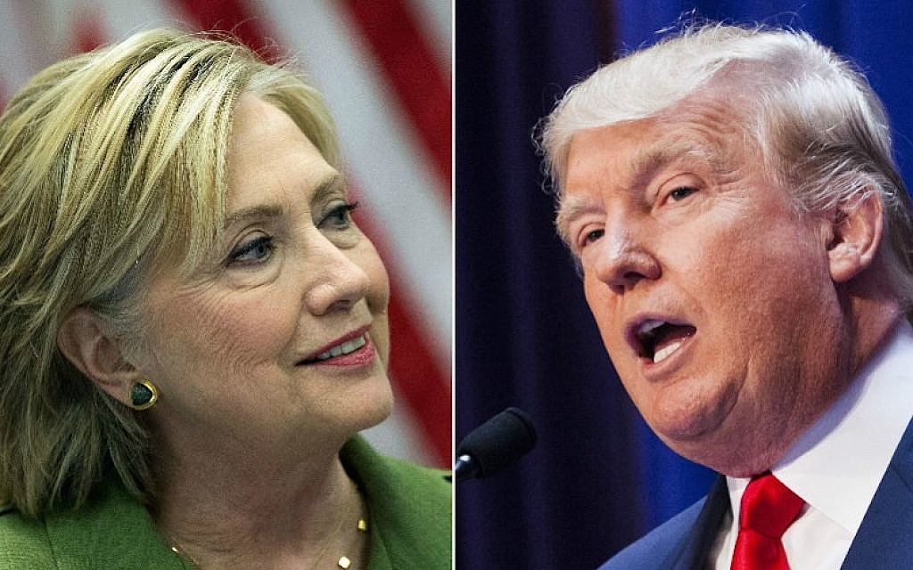 Democratic nominee Hillary Clinton (JTA/Drew Angerer/Getty Images) and Republican rival Donald Trump (JTA/Christopher Gregory/Getty Images)