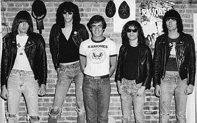 Danny Fields, center, without black jacket, with the members of the Ramones. (Courtesy of Magnolia Pictures/via JTA)