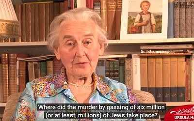 German Holocaust denier Ursula Haverbeck speaks during an interview in 2014 (screen capture: YouTube)
