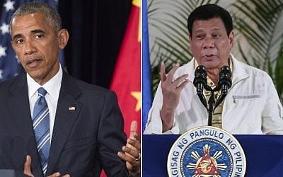 US President Barack Obama (left) speaks during a press conference after the end of the  G20 summit in Hangzhou, China, while (right), Philippine President Rodrigo Duterte addresses  a press conference in Davao City, the Philippines, prior to his departure for Laos to attend the ASEAN summit,  September 5, 2016. (AFP PHOTO / Saul LOEB AND MANMAN DEJETO)