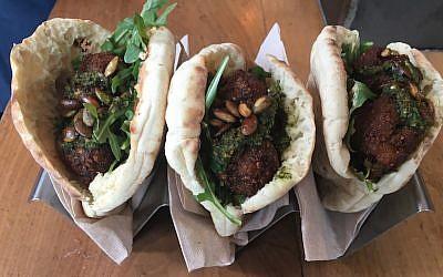 Celebrity chef Amanda Freitag's fall-themed falafel for Israeli restaurant Taïm, in New York City (JTA/Josefin Dolsten)