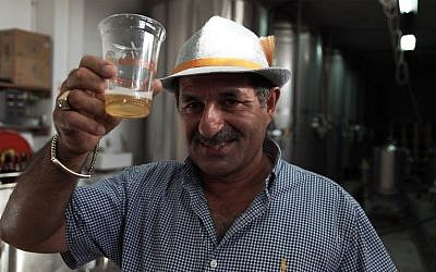 Nadim Khoury, co-founder of Taybeh Brewery in the West Bank. September 25, 2016. (Luke Tress/Times of Israel)