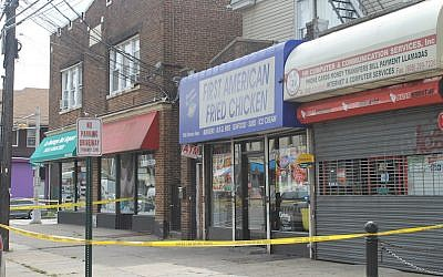 First American Fried Chicken, which is owned by the family of Ahmad Khan Rahami, was closed and cordoned off a day after he was arrested for a series of bombings in New York and New Jersey, Sept. 20, 2016. (Ben Sales/JTA)