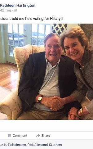 Kathleen Hartington Kennedy Townsend's Facebook picture of her meeting with George Bush Snr, September 19, 2016. (Facebook)