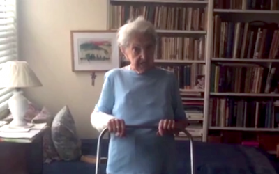 New Yorker and Holocaust survivor Gina Zuckerman. (Screenshot from New York Post video, via JTA)