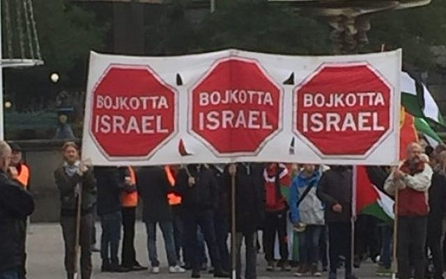 A pro-Palestinian, anti-Israel protest in Gothenburg, Sweden in 2015. The signs in Swedish read 'Boycott Israel.' (Marianne Pleen Schreiber)