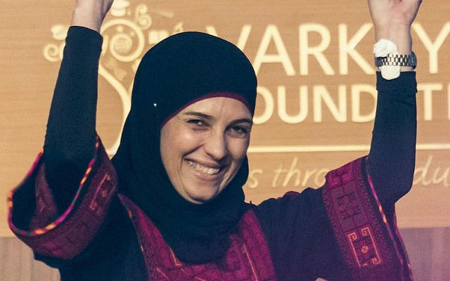 Palestinian teacher Hanan Al Hroub at a ceremony where she received the Varkey Foundation Global Teacher Prize in Dubai, March 13, 2016. (Varkey Foundation via JTA)