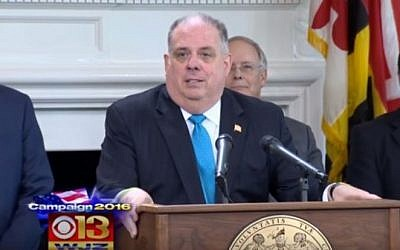 Maryland Governor Larry Hogan speaks at a press conference in Prince George's County on June 15, 2016. (screen capture: YouTube)
