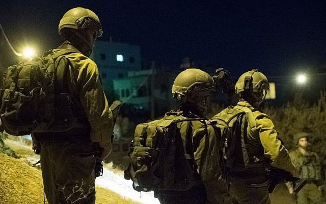 Illustrative photo of IDF soldiers in the West Bank on September 19, 2016. (IDF Spokesperson's Unit)