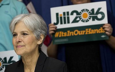 Jill Stein announcing that she will seek the Green Party's presidential nomination at the National Press Club in Washington, DC, June 23, 2015. (Drew Angerer/Getty Images/JTA)