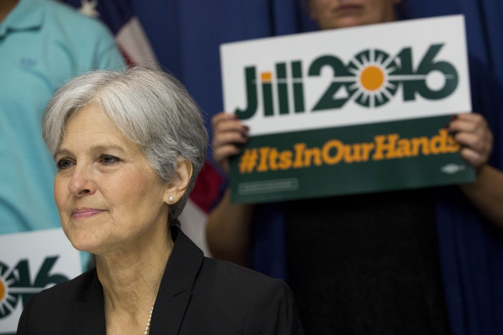 Jill Stein announcing that she will seek the Green Party's presidential nomination at the National Press Club in Washington, D.C., June 23, 2015. (Drew Angerer/Getty Images/JTA)