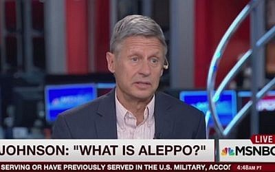 Libertarian presidential nominee Gary Johnson on MSNBC's 'Morning Joe' on September 8, 2016 (YouTube screen capture)